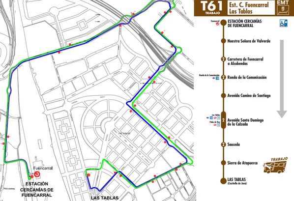 Éste será el nuevo recorrido de la línea T61